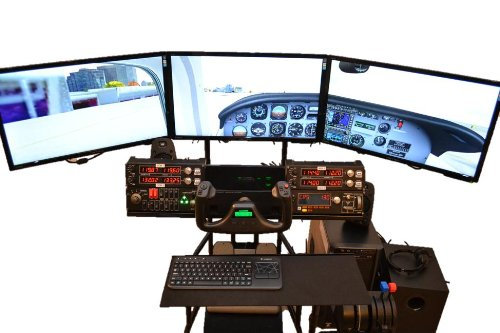 Volair Sim Universal Flight or Racing Simulation Cockpit Chassis with Triple Monitor Mounts 9