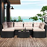 Amolife 7 Pieces Patio PE Rattan Sofa Chair Set Outdoor Sectional Furniture Black Wicker Conversation Set with Tan Cushions Covers and Tea Table