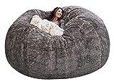 EKWQ 7ft Bean Bag Chair Cover,(No Filler) Durable Comfortable Bean Bag Chair PV Fur Bean Bag Sofas Faux Fur Sofa Living Room Sofa Bed (Light Grey)