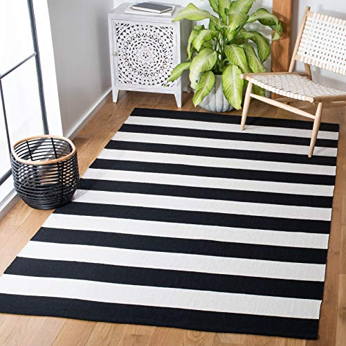 Safavieh Montauk Collection MTK712G Handmade Stripe Cotton Area Rug, 5' x 8', Grey / Ivory