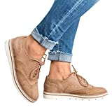 Sports Shoes Women,Hot! Oliviavan Women's Round Toe Solid Color Ankle Flat Suede Casual Lace Up Shoes Khaki