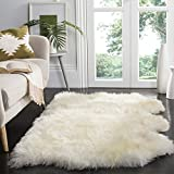 Safavieh Sheepskin Collection SHS211A Genuine Sheepskin Pelt Handmade White Premium Shag Rug (3' x 5')