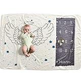 Couverture mensuelle pour bébé IWILCS, couverture photo nouveau-né, fond de photographie Prop, couvertures en flanelle pour bébé, pour garçons et filles, avec petite couronne (70 * 102cm)