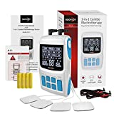 ROOVJOY TENS Unit Muscle Stimulator Pulse Massager 3 in 1 Back Pain Relief Dual Channles 36 Modes Electric Device Electrodes Therapy Accupoint Pads Machine
