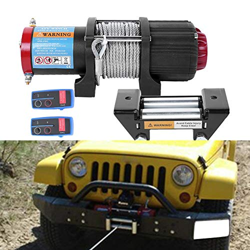 Verricello elettrico 12 V Quad 4500 lbs/2045 kg per barche auto ATV rimorchio con 2 telecomandi wireless e piastra di montaggio