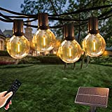 Solar String Lights Outdoor with Remote Timmer Dimmer, 50FT Dimmable 26 LED Bulbs G40 Waterproof Bistro Hanging Lights for Backyard Patio Pergola Porch Balcony Pool Wedding Party Decor
