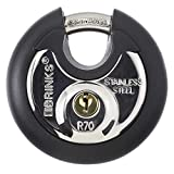 Brinks 673-70001 Commercial Stainless Steel Discus Padlock, Keyed, 70 mm, 4 Pin Cylinder
