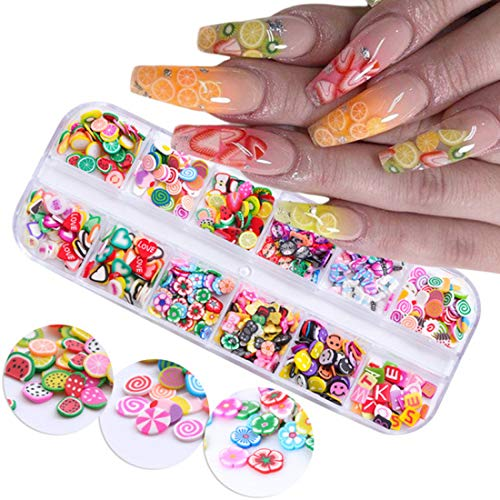 12 Boxes Nail Art Slices Fruit Flower 3D Nail Art Fimo Sweet Nail Stickers Supplies Women Kids Girls Slime Nail Decoration Kit Manicure Tips Summer Beauty Charms Nail Decals for Acrylic Nails