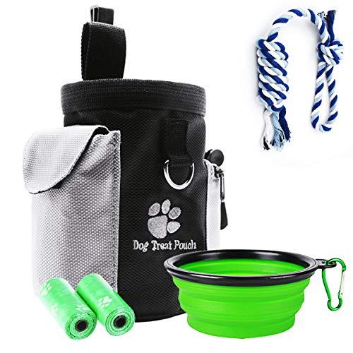 PullPritt Futterbeutel Hunde, 4 in1 Wasserdicht Hunde Training Futterbeutel mit Hundeseil Spielzeug, 2 Rollen Poop Tasche und 1 Faltbarer Trinknapf