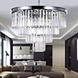 Luxurious Crystal Chandelier Modern Contemporary Chandelier 4-Tier European Ceiling Pendant Lights for Dining Room Living Room Hotel, 9 E12 Bulbs Required (Silver, Dia21.6'' 4-Tier)