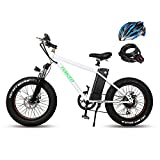 nakto 20' 300W Fat Tire Electric Bicycles Snow Beach Bike Shimano 6 Speed Gear E-Bike with Removable Waterproof Large Capacity 36V10A Lithium Battery and Battery Charger
