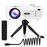 QKK [2020 Upgrade 4200Lux] Potable Mini Projector [with Tripod] LED Projector Full HD 1080P Supported, 170' Display for TV Stick, Video Game DVD Player, Smartphone Home Theater, Dual USB Port