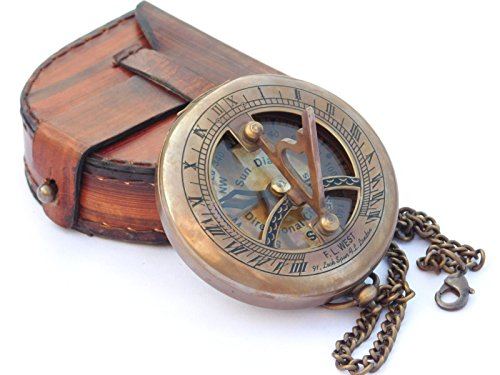 NEOVIVID Brass Sundial Compass with Leather Case and Chain - Push Open Compass - Steampunk Accessory - Antiquated Finish - Beautiful Handmade Gift -Sundial Clock (Garden & Outdoors)