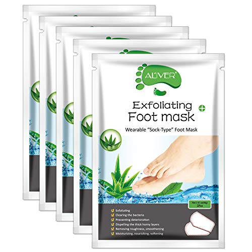 Foot Peel Mask - (5 PACK) Foot Mask for Dry Dead Skin, Callus, Repair Rough Heels - Make Your Feet Baby Soft Get Smooth Silky Skin - Natural Treatment (Aloe)