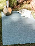 Unique Loom Outdoor Solid Collection Casual Transitional Indoor and Outdoor Flatweave Aquamarine Area Rug (4' 0 x 6' 0)