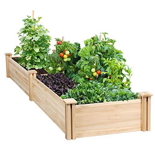 YAHEETECH Raised Garden Bed Kit - Wooden Elevated Planter Garden Box...