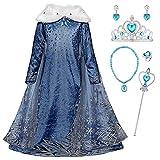 Monissy La Reine des Neiges Elsa Princesse Robe Fille Bleu Col Blanc Duvet...