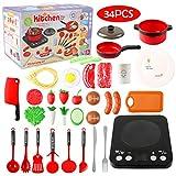 Ustensiles de Cuisine Enfant, Accessoire Cuisine Complete avec Cuisinière à Induction, Batterie de...