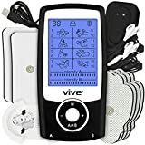 Vive Stim Machine TENS Unit - Electrotherapy Muscle Stimulator with Electrode Pads