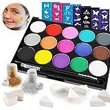 HOWAF Pinturas Cara para Niños, Pintura Facial, Seguridad no tóxica,15 Colores + 60 Plantillas + 2...