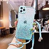 Coque pour iPhone 11,iPhone 11 Coque, Personnalisé Liquide Paillette Housse Etui de Protection Etui Silicone Sables Mouvants Bling Collier Lanyard Case Réglable Case pour iPhone 11