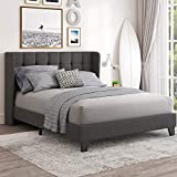 Einfach Full Size Upholstered Wingback Platform Bed Frame with Headboard/Mattress Foundation with Wood Slat Support and Square Stitched Headboard/No Box Spring Needed/Easy Assembly, Dark Grey (Full)