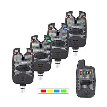 Kit 4 +1 d'alarmes de morsure de pêche Hirsi Tackle®, sans fil - Pour pêche à carpe