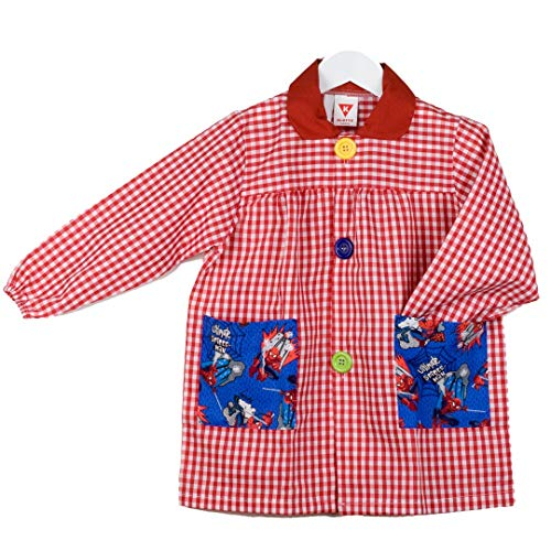 KLOTTZ SPIDERMAN - Babi guardería con bolsillos de tela de Spiderman. Bata colegio de manga larga Niñas color: ROJO talla: 3