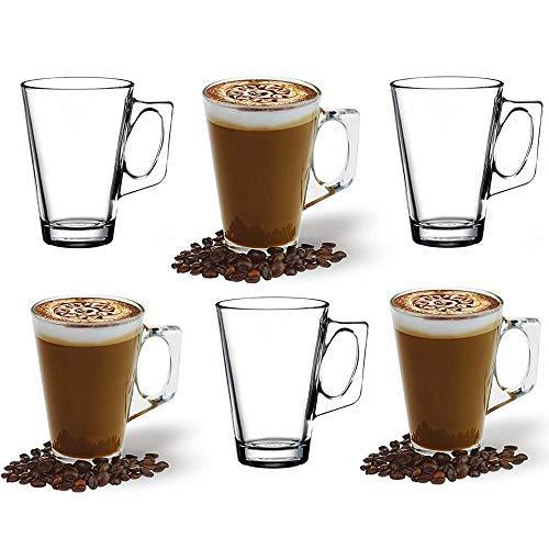 ANSIO Grandi Tazze di caffè del Latte di vetro-385ml (13 Once)-Contenitore di Regalo di 6 Bicchieri del Latte-Compatibile con la Macchina di Tassimo (Confezione da 6)
