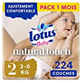 Lotus Baby Natural Touch- Couches Taille 2 (3-6 kg/Nouveau-Né) - lot de 4 paquets de 56 couches (224 couches en totale)