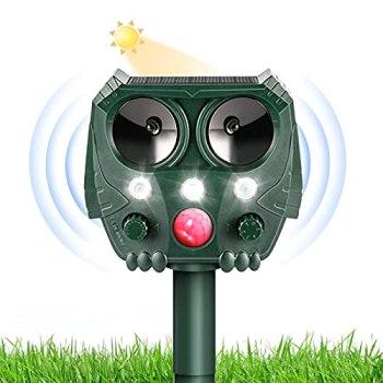Repulsif Chat Exterieur Fréquence Réglable, Solar Ultrason Anti Chats, Répulsif Taupe Solaire à Ultrason, 5 Mode Réglable Protection du Jardin Potager Verger, pour Souris, Oiseaux, Serpent