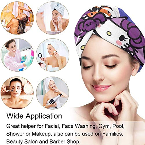 Hair Towel Wrap Turban Hello Kitty Witch Microfiber Drying Bath Shower Head Towel With Button, Dry Hair Hat