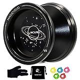 MAGICYOYO Responsive V6 Locus Aluminum YoYo Star Logo for Kids Beginner Learner with Yoyo Bag, Yoyo Glove and 5 Spinning Strings -Black