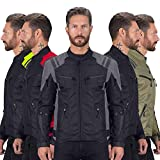 Viking Cycle Ironborn Protective Textile Motorcycle Jacket for Men - Waterproof, Breathable, CE Approved Armor for Bikers (Gray, XL)