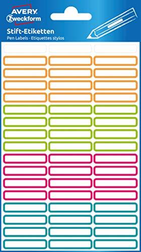AVERY Zweckform Aufkleber für Stifte selbstklebend, 102 Namensaufkleber (Stiftetiketten, permanent haftend und strapazierfähig, beschriftbare Mini-Etiketten für Stifte) 63027