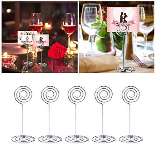 LIOOBO 10pcs Place Card Holder Round Shape Wedding Party Favor Clips Table Number for Wedding Decoration Event Party Supplies