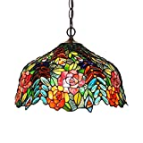 Pendant Light, XINDAR Stained Glass Chandelier Lamp Tiffany Stylish 3 Lights Bronze Ceiling Suspension Lamp (Blue)