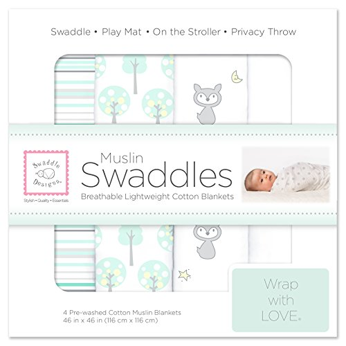 SwaddleDesigns Cotton Muslin Swaddle Blankets, Set of 4, Green Woodland and Pure White