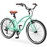sixthreezero Around The Block Casual Edition Women's 7-Speed Beach Cruiser Bike, 26' Bicycle, Mint Green with Brown Seat and Brown Grips, One Size