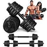 MOVTOTOP Adjustable Dumbbells Set, 5/15/25/35/66lbs Free Weight Dumbbells Sets with Connecting Rod and Non-Slip Handle, Barbell Weight Set for Men & Women Home Gym Exercise & Fitness