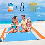 VoMii for Large Beach Blanket 82' x 79', Portable Compact Lightweight Sandless Beach mat,Waterproof Soft Fast Drying Ripstop Nylon Sand Blanket for Camping, Hiking, Lawn Party