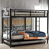 Metal Twin Over Twin Bunk Beds with Trundle Bed Twin Bunk Beds for Kids No Box Spring Required