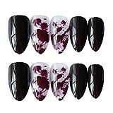Splash-ink Dark Red/Black Sharp False Fingernails Artificial False Nails Tips