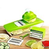 GProME Mandoline Slicer Vegetable Spiralizer, Food Slicer 6-in-1 French Fry Cutter, Food Waffle,Julienne Grater- Potato Slicer– Sharp Stainless Steel Blades(Green)