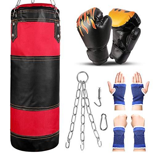 Odoland Sac de Frappe Professionnel avec Gants de Boxe 6OZ, Protège-Poignet et Suspension Support Plafond, Sac de Boxe sans Sables Rempli Lourd MMA Muay Thai Kickboxing