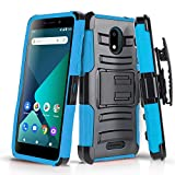 CasemartUSA Phone Case for [Alcatel TCL A1 (A501DL)], [Refined Series][Sky Blue] Shockproof Cover with Kickstand & Holster for Alcatel TCL A1 (Tracfone, Simple Mobile, Straight Talk, Total Wireless)