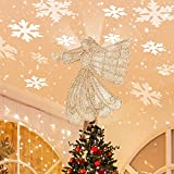 Christmas Tree Topper, Angel Christmas Tree Topper Lighted with Rotating Snowflake Led Projector, Christmas Tree Angel Topper Lighted for Christmas Tree Decorations, Gold