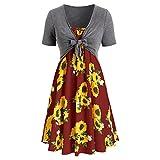XIAOYUAN Robe Imprimée Femme Été 2021 Casual Chemisier Manches Courtes Arc Nœud Papillon Blouse Robe Caraco Chic Élégant Mini Dress