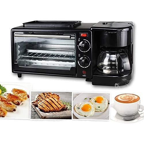 multifunktionstoaster 9L, Toaster 3 In 1 1050 (W), Mit antihaftbeschichteter Pfanne und Kaffeemaschine, mit Zeitschaltuhr, Mit Backen, Spiegeleiern, Erhitzen, Rösten und Kaffeekochen,Black