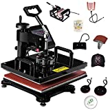 Tangkula 6 in 1 Heat Press Machine, 12x15 Inch Multifunctional Digital Transfer Sublimation Swing-Away, 360-Degree Rotation Combo Heat Transfer Machine for T Shirts, Mug, Hat, Plate, Cap